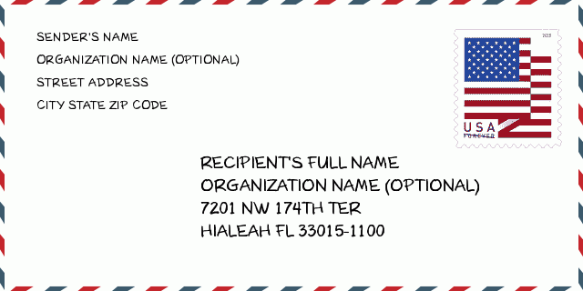 Zip Code 5 33015 Hialeah Florida United States Zip